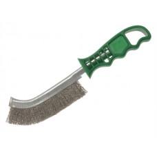 Щетка ручная 1-а рядная с зеленой пластиковой ручкой проволока нержавейка гофрированная Lessmann