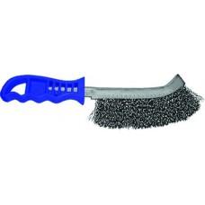 Щетка ручная 1-а рядная с синий пластиковой ручкой проволока сталь гофрированная Lessmann